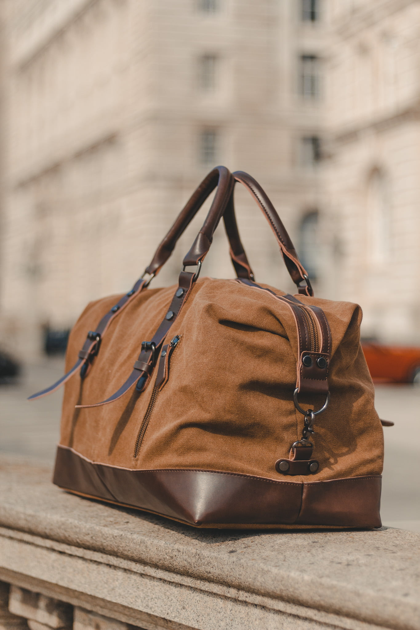 Cotton Canvas and Man Made Vegan Leather Weekender Bag - Menswear Denim Rugged Style Outfit - The Ashdown by Oldfield