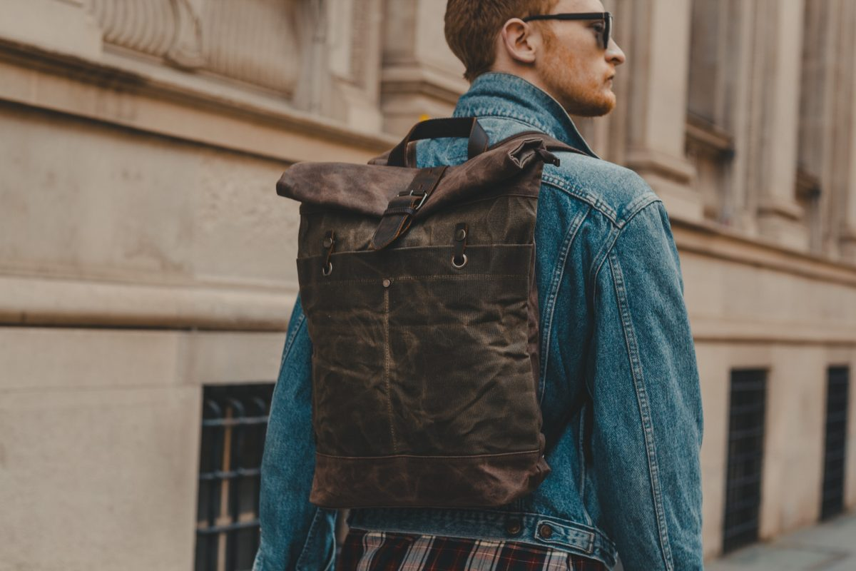 Waxed Cotton Canvas and Leather Backpack Rucksack - Menswear Denim Rugged Style Outfit - The Farnborough in Moss by Oldfield