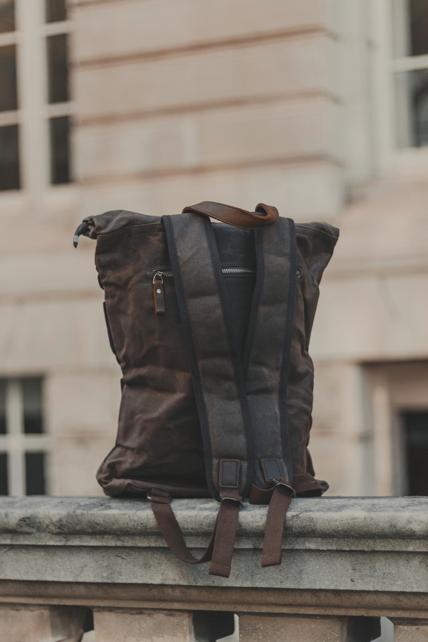 Waxed Cotton Canvas and Leather Backpack Rucksack - Menswear Denim Rugged Style Outfit - The Farnborough in Graphite by Oldfield