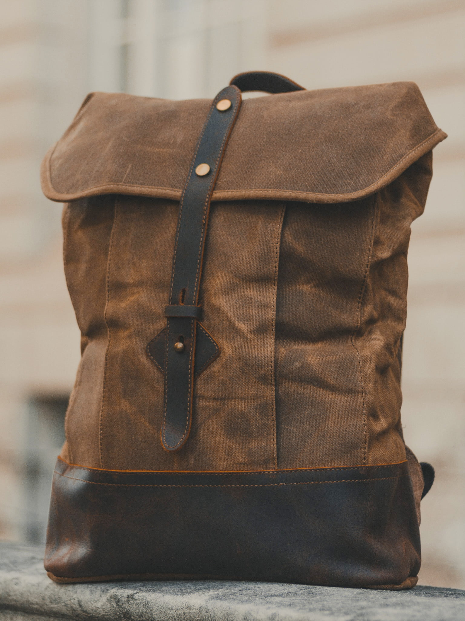 Waxed Cotton Canvas and Leather Backpack Rucksack - Menswear Denim Rugged Style Outfit - The Kingston in Sandstone by Oldfield