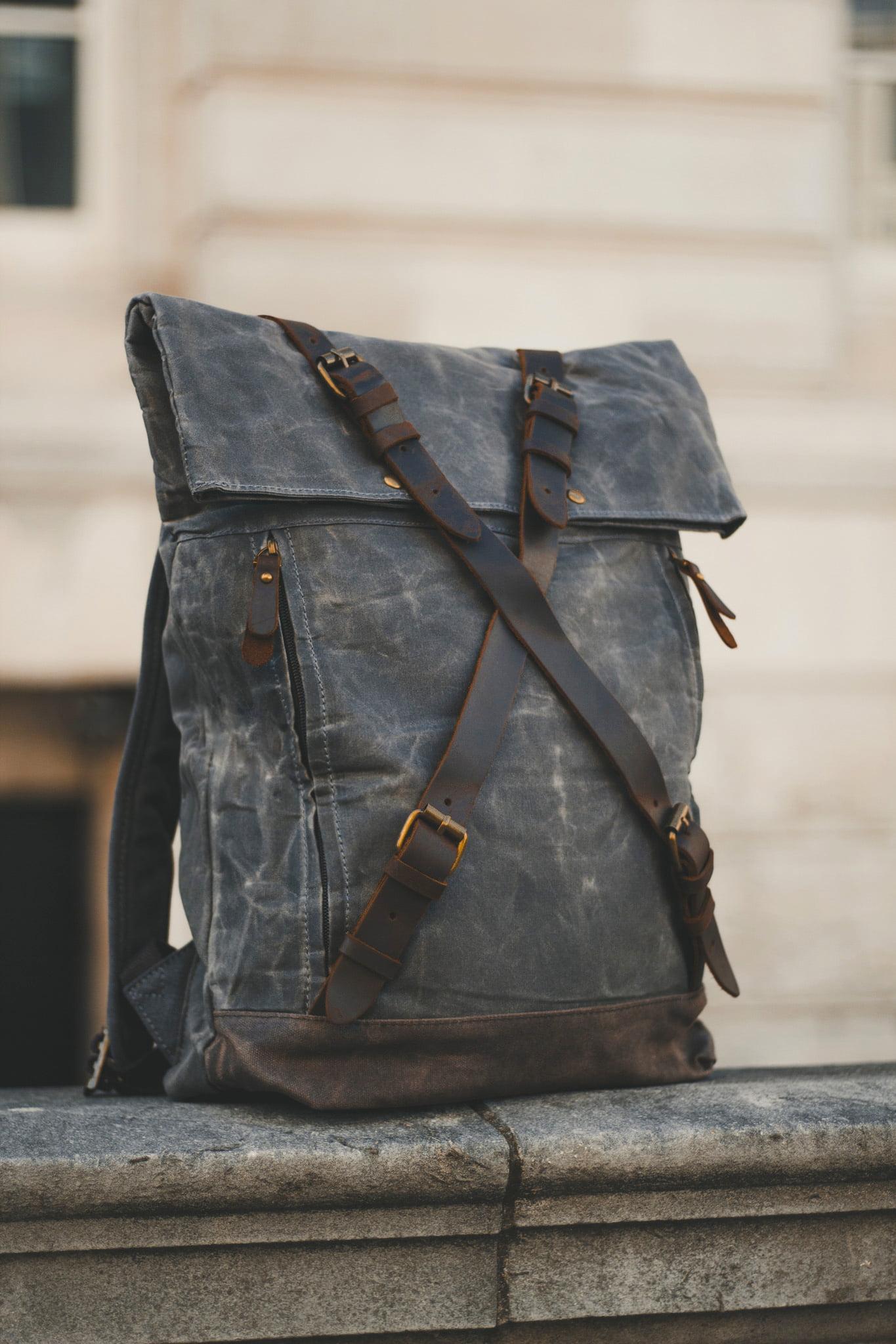 Oldfield Harlington Slate Waxed Canvas & Leather Backpack