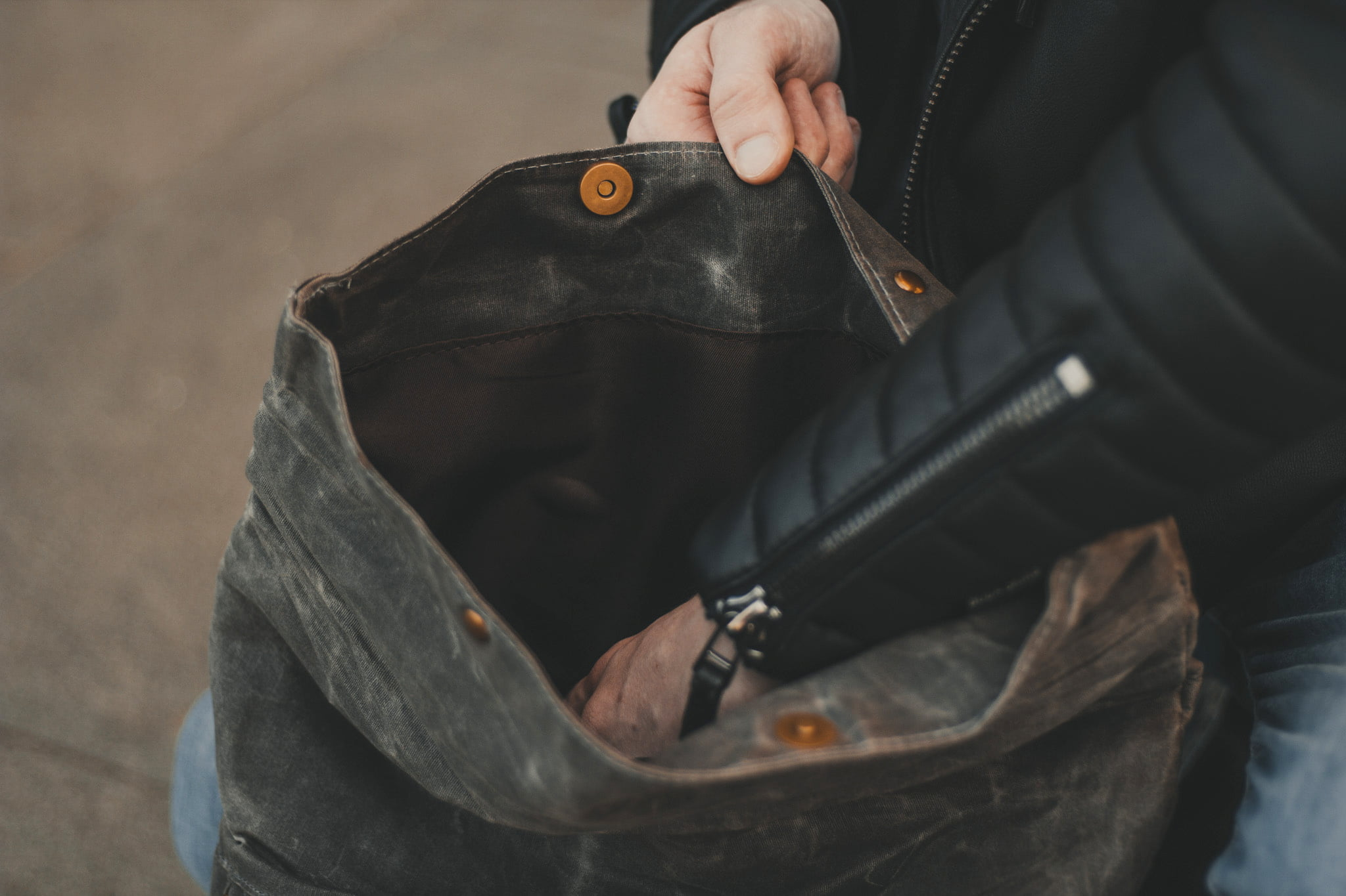 Waxed Cotton Canvas and Leather Backpack Rucksack - Menswear Denim Rugged Style Outfit - The Harlington in Slate by Oldfield