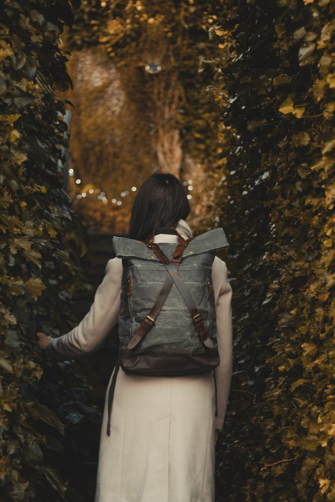 Waxed Cotton Canvas and Leather Backpack Rucksack - Women'sLadies Girls Backpack - Gemma InkSmudge Journals, Liverpool - The Harlington Backpack in Slate by Oldfield