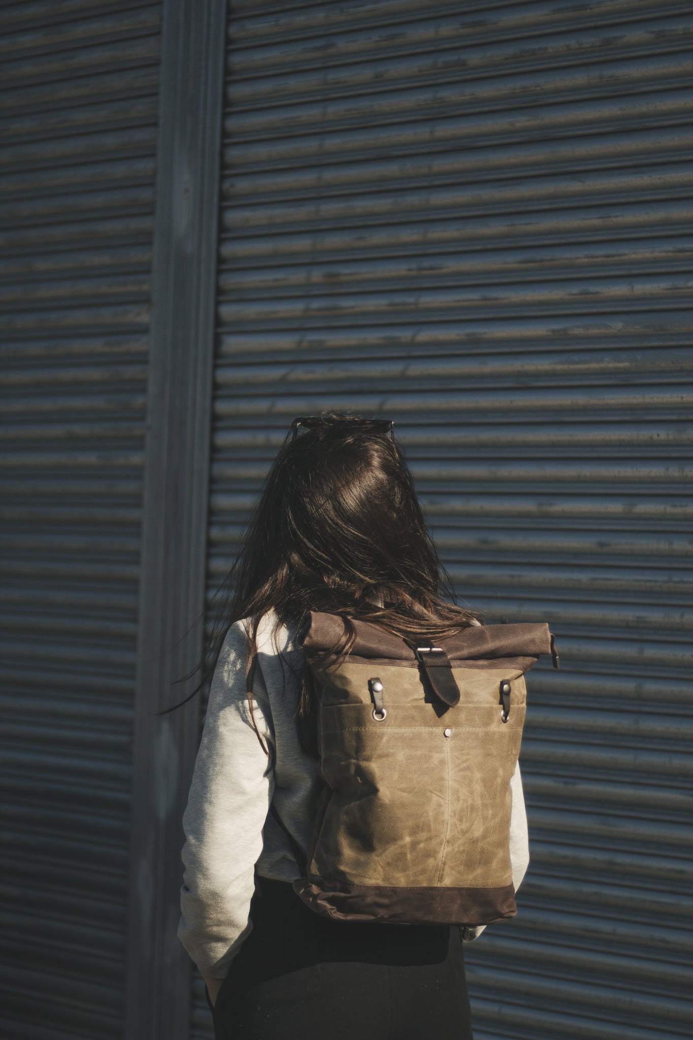 Waxed Cotton Canvas and Leather Backpack Rucksack - Mia Cathcart Liverpool Artist - The Farnborough in Moss by Oldfield