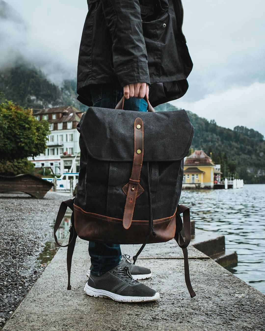 Waxed Cotton Canvas and Leather Backpack Rucksack - Menswear Denim Rugged Style Outfit Switzerland Rhône Glacier - The Kingston in Graphite by Oldfield - Photo by Brad Newman