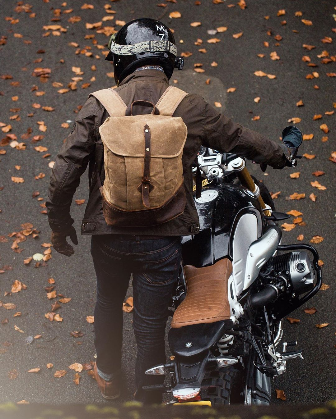 Waxed Cotton Canvas and Leather Backpack Rucksack - Menswear Denim Rugged Style Outfit Cafe Racer Explore Expedition Motorbike Tour - The Kingston in Sandstone by Oldfield - Photo by Ricky Phoolka