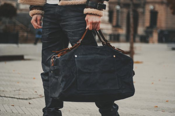 Waxed Cotton Canvas and Leather Backpack Rucksack - Menswear Denim Rugged Style Outfit - The Harkbridge in Graphite by Oldfield