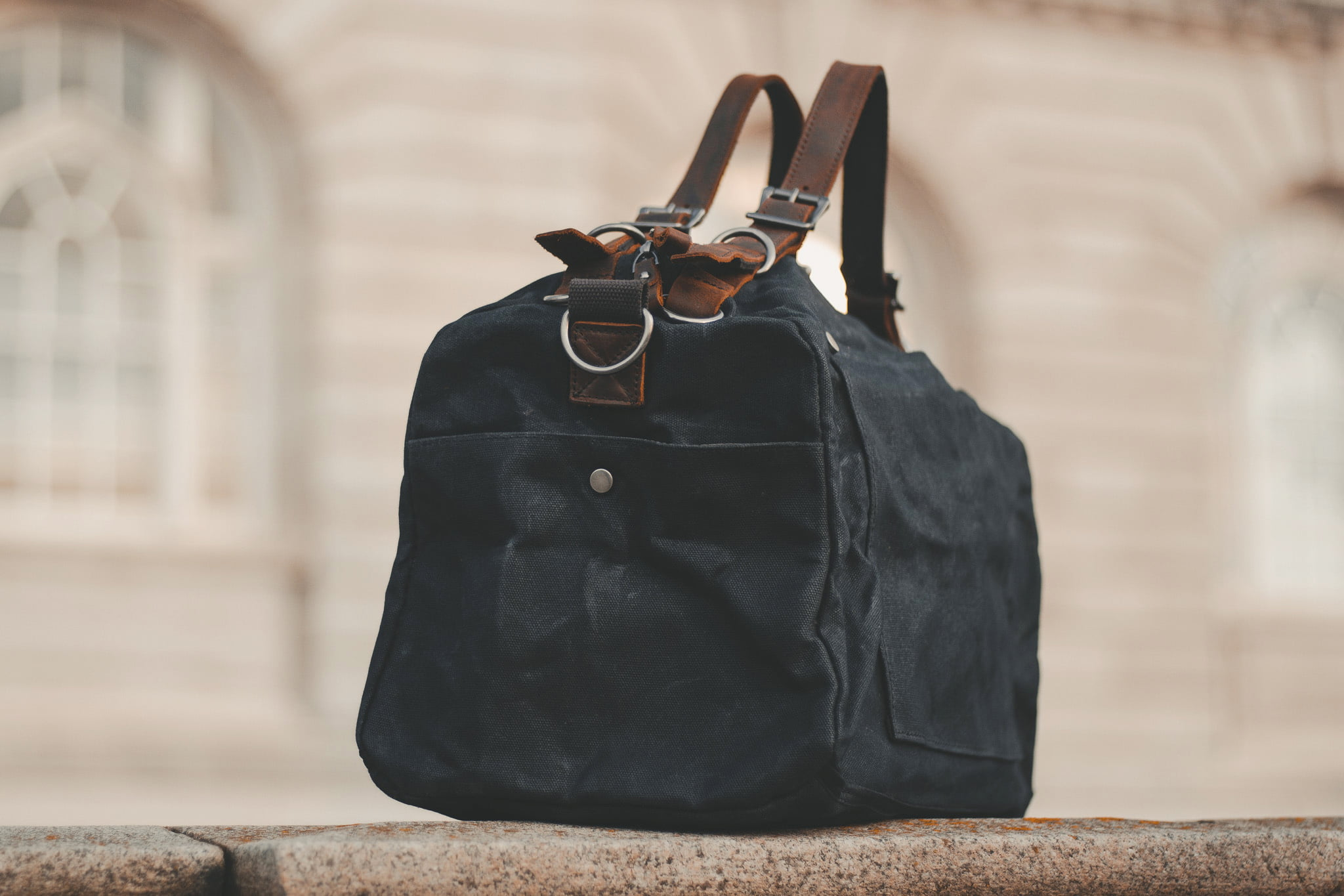 Waxed Cotton Canvas and Leather Duffle Bag Weekender Holdall - Menswear Denim Rugged Style Outfit - The Harkbridge in Graphite by Oldfield