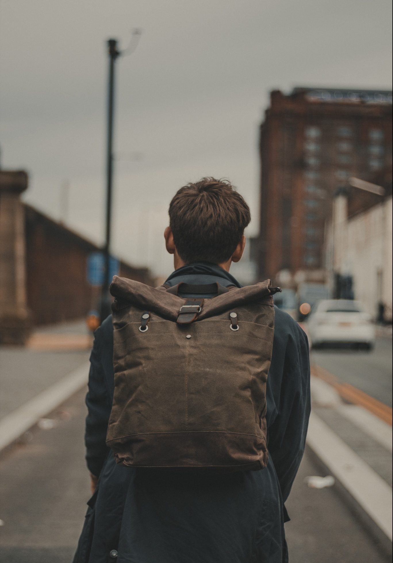 Waxed Cotton Canvas and Leather Backpack Rucksack - Cycling Style City Commuter Holdall - The Farnborough in Moss by Oldfield - Bicycle by Ten Street Cycles Liverpool