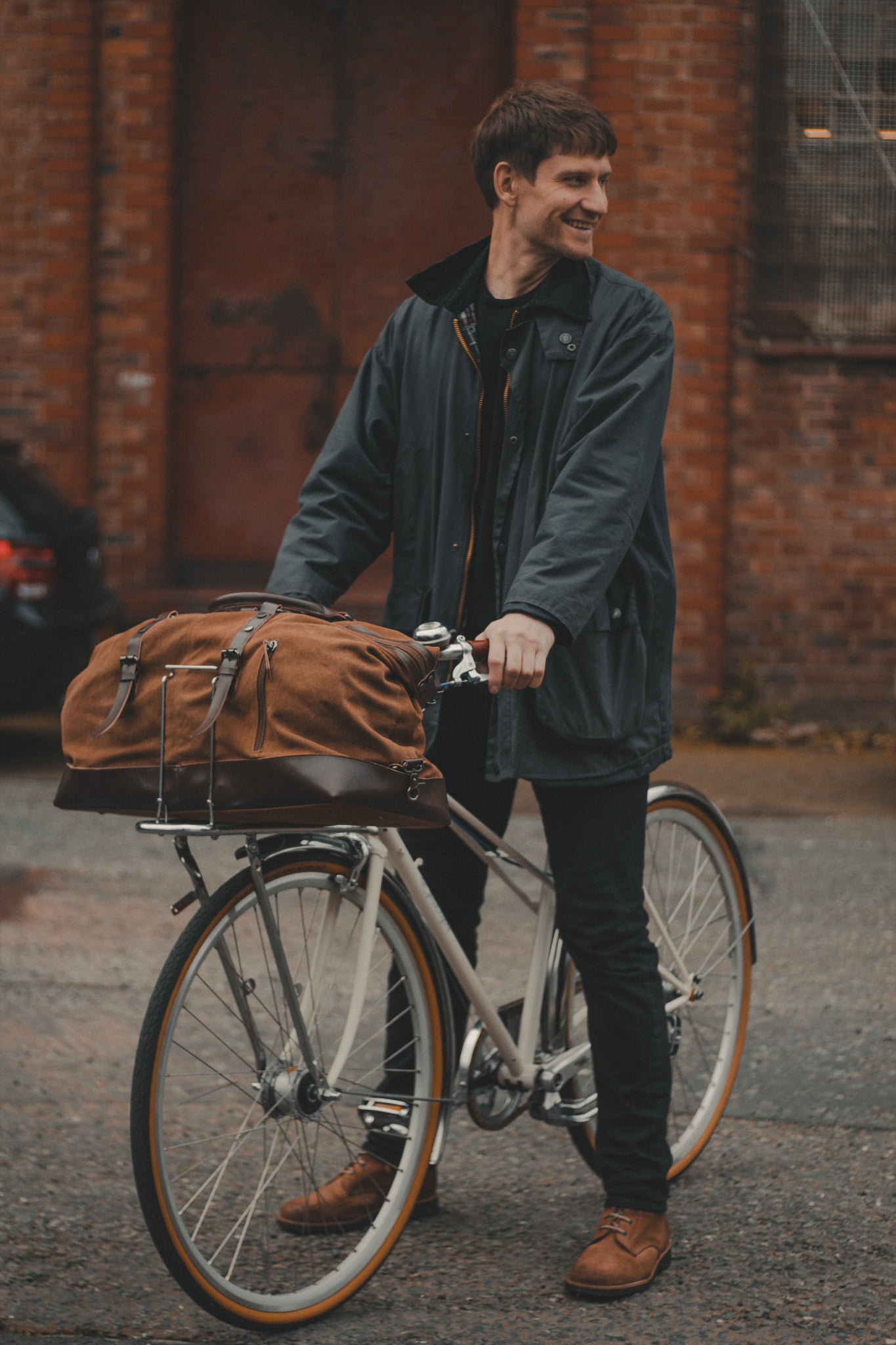 Cotton Canvas and Man Made Vegan Leather Weekender Bag - Cycling Style City Commuter Holdall - The Ashdown by Oldfield - Bicycle by Ten Street Cycles Liverpool