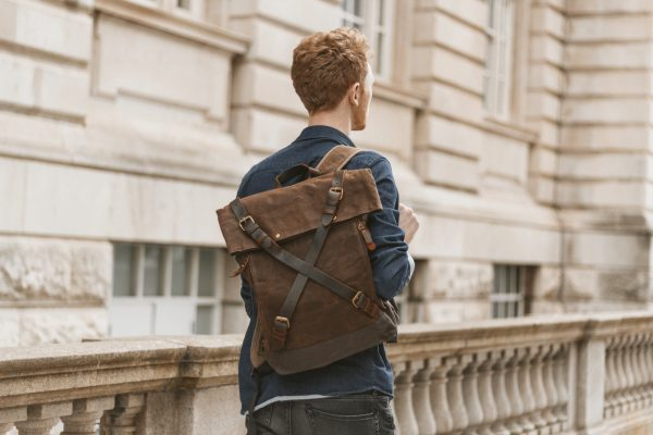 Waxed Cotton Canvas and Leather Backpack Rucksack - Menswear Denim Leather Boots Heritage Rugged Style Flatlay - The Harlington in Sandstone by Oldfield
