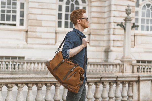 Waxed Cotton Canvas & Leather Weekender Bag - Menswear Outfit Denim Leather Boots Heritage Rugged Style - The Ashdown by Oldfield