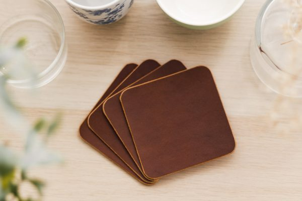 Leather Coffee Beer Wine Whisky Glass Coasters - Luxury Premium Grade Leather - Home Design Decor - Buttero Leather Drinks Coasters by Oldfield