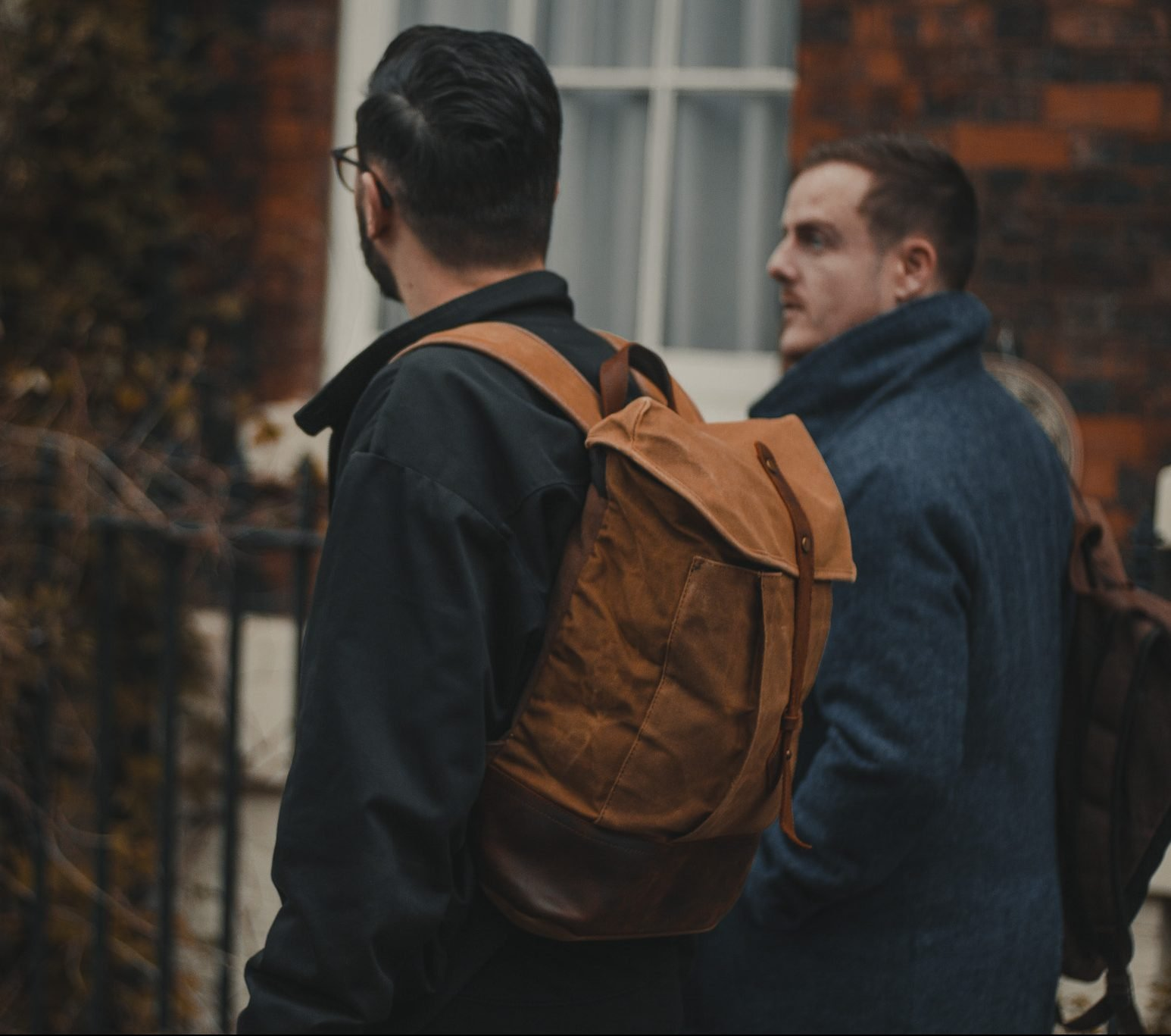 Waxed Cotton Canvas and Leather Backpack Rucksack - Menswear Denim Rugged Style Outfit - Waxed Canvas & Leather Backpacks by Oldfield - Jamie McIlhatton Warren Norton Wylde Coffee Liverpool Heswall