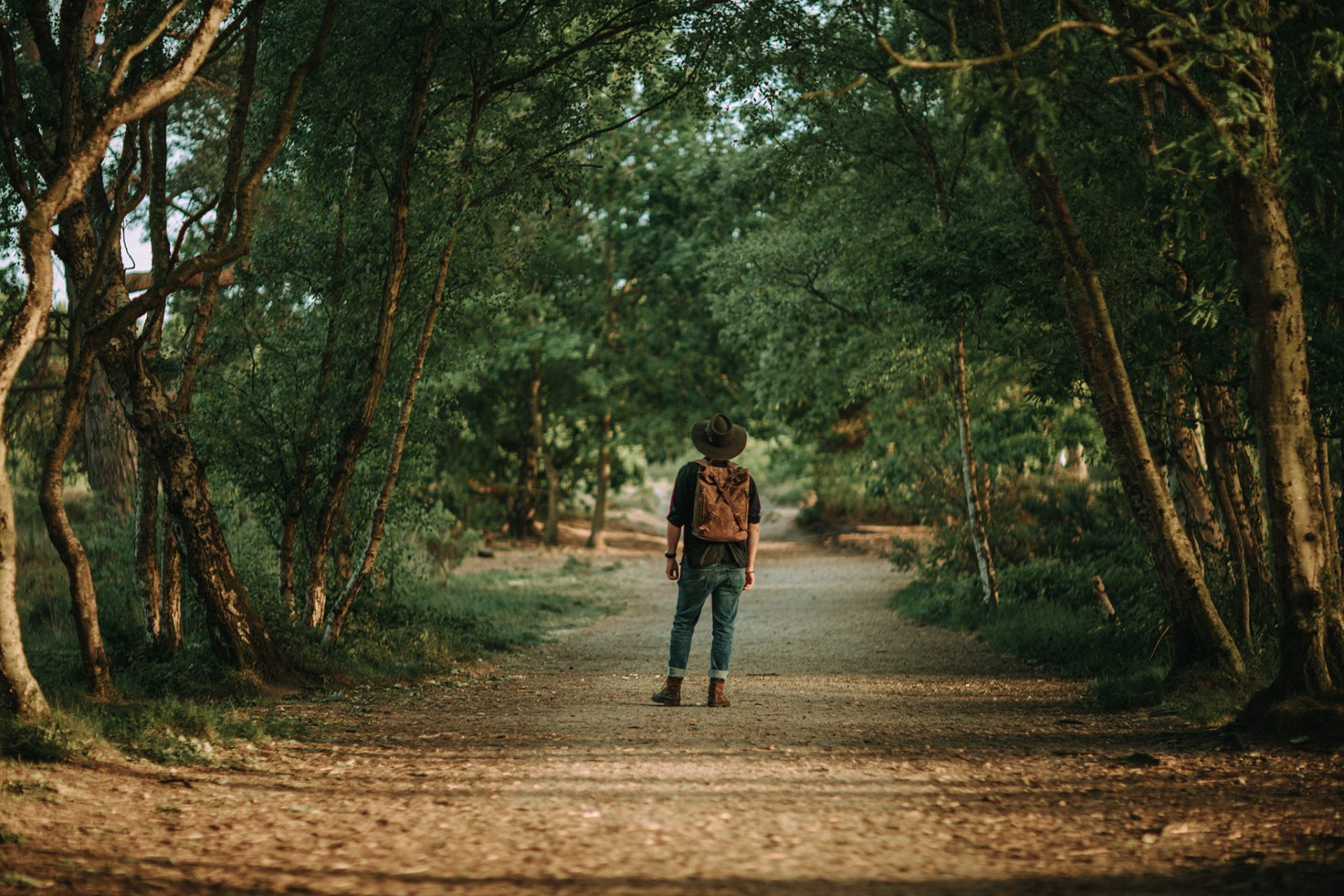 Waxed Cotton Canvas and Leather Backpack Rucksack - Menswear Denim Rugged Style Outfit Royden Park, Wirral, Merseyside - The Harlington in Sandstone by Oldfield - Photo by Samuel Mills