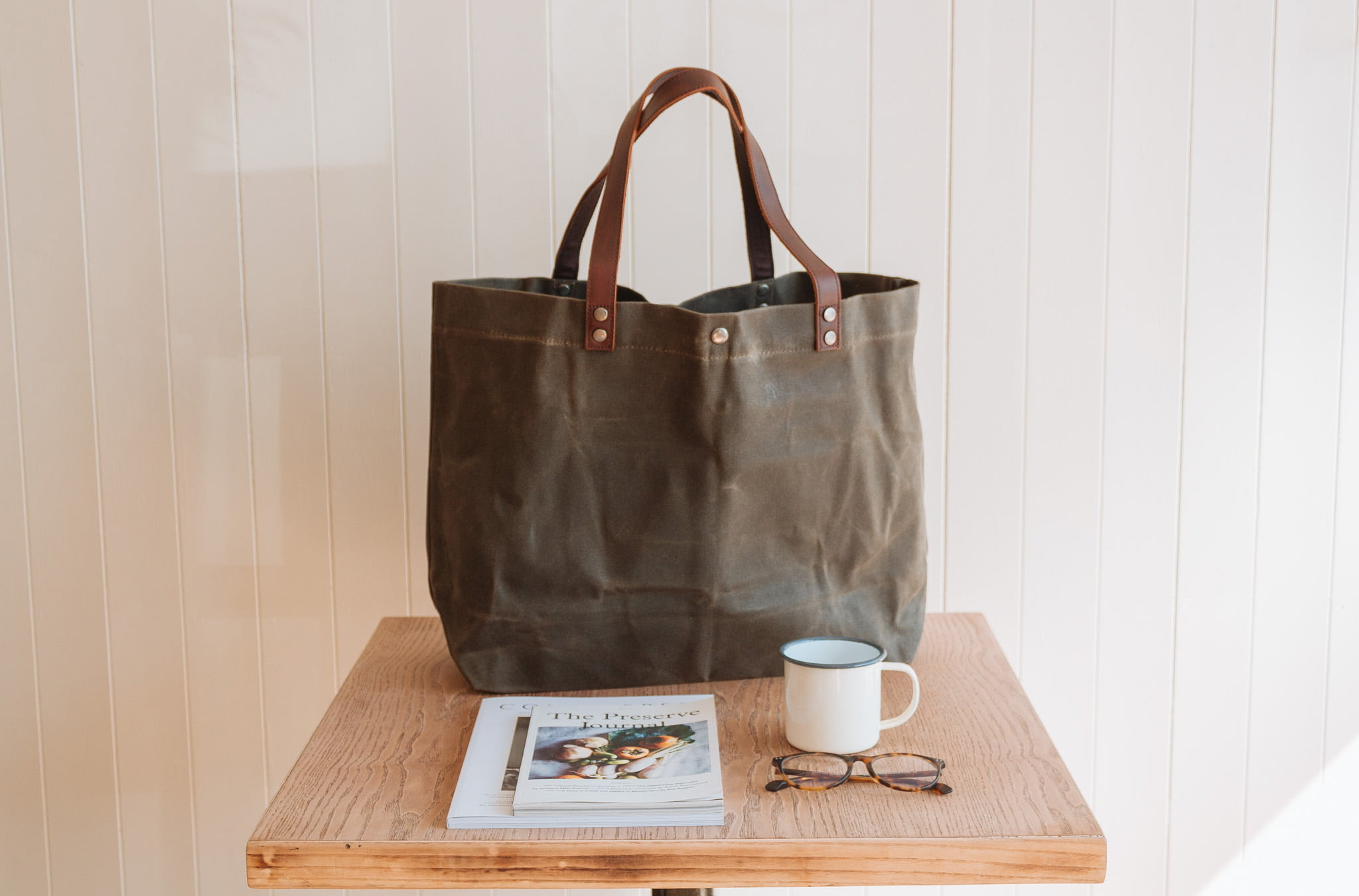 Waxed Cotton Canvas and Leather Tote Bag - Rugged Weatherproof Shoulder Hand Bag Tote - The Brierley Tote in Moss Green by Oldfield