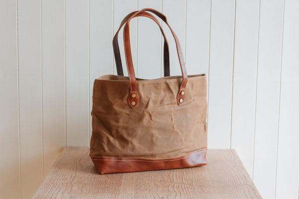 Waxed Cotton Canvas and Leather Tote Bag - Rugged Weatherproof Shoulder Hand Bag Tote - The Halstead Tote in Sandstone Brown by Oldfield