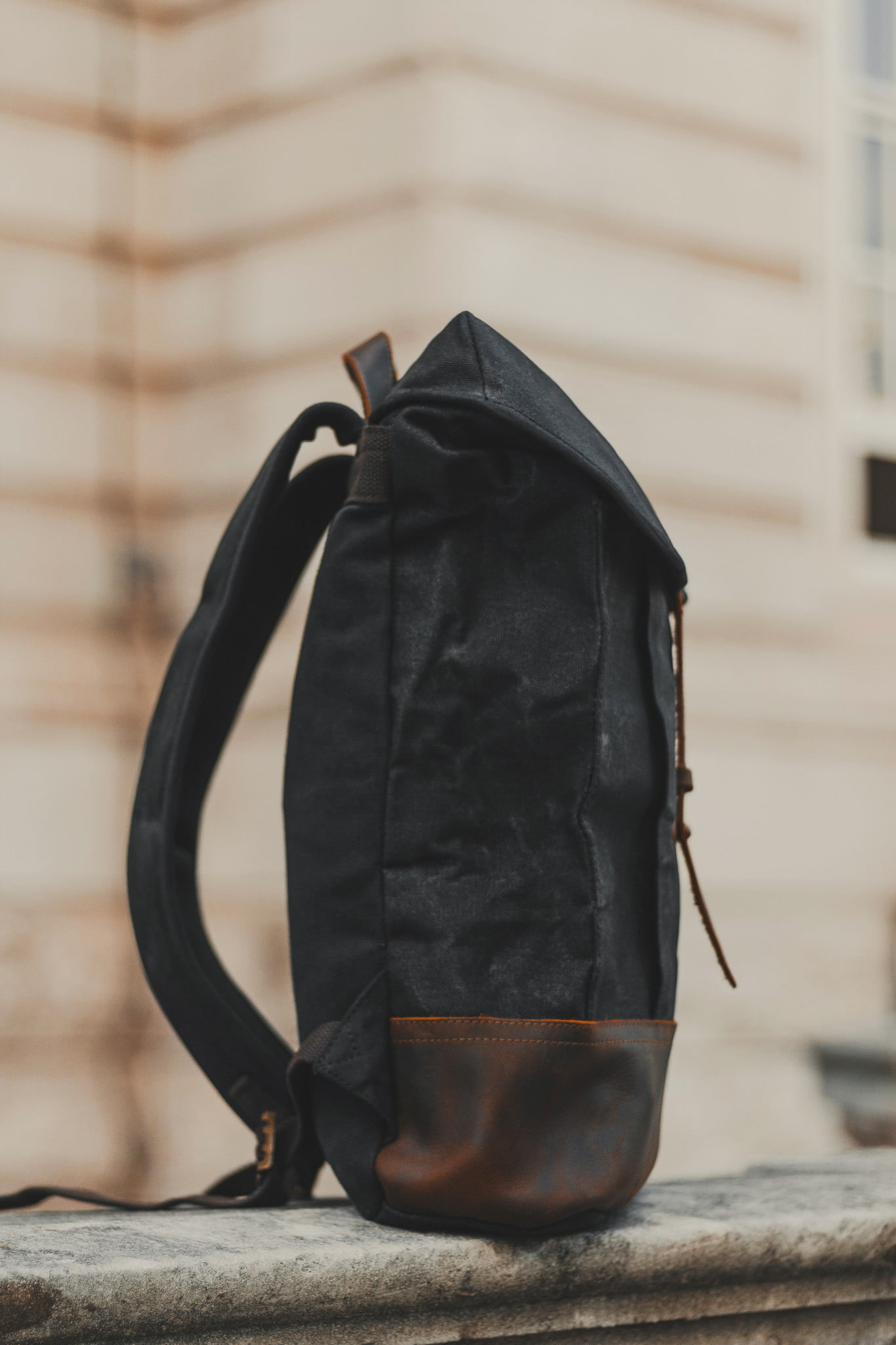Waxed Cotton Canvas and Leather Backpack Rucksack - Menswear Denim Rugged Style Outfit - The Kingston in Graphite by Oldfield