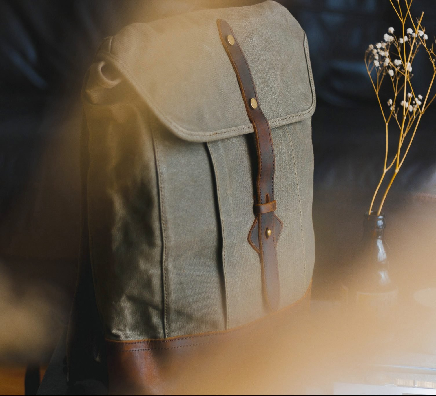 Waxed Cotton Canvas and Leather Backpack Rucksack - Menswear Denim Rugged Style Flatlay - The Kingston in Moss by Oldfield