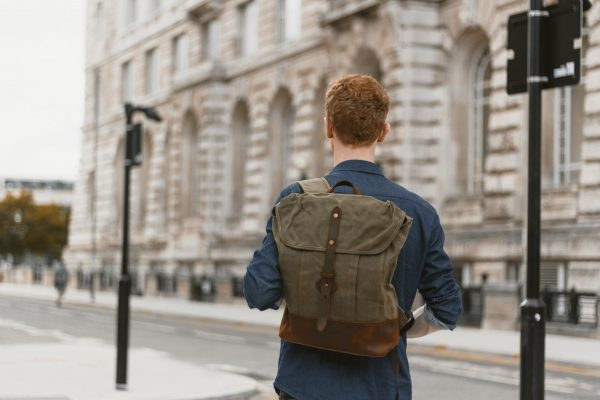 Waxed Cotton Canvas and Leather Backpack Rucksack - Menswear Outfit Denim Leather Boots Heritage Rugged Style - The Kingston in Moss by Oldfield