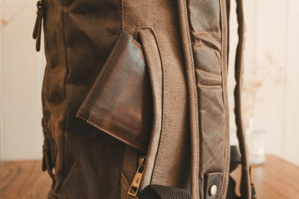 Waxed Cotton Canvas and Leather Backpack Rucksack - Menswear Denim Rugged Style Flatlay - The Harlington in Sandstone by Oldfield