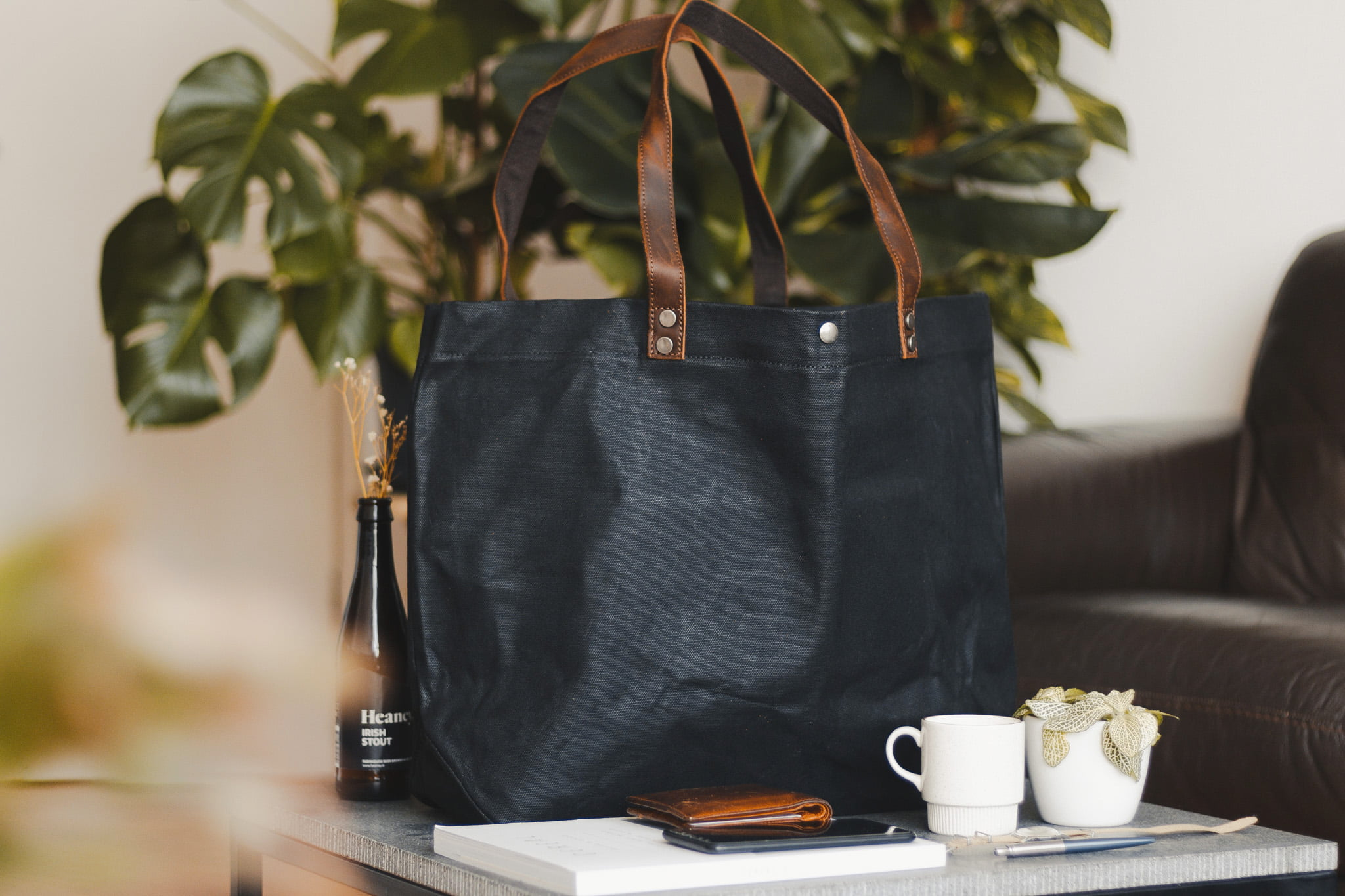 Waxed Cotton Canvas and Leather Tote Bag - Rugged Weatherproof Shoulder Hand Bag Tote - The Brierley Tote in Graphite Black by Oldfield